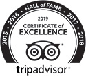 Trip Advisor 2019 Certifcate of Excellence